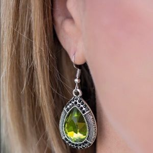 Paparazzi Earrings with green stone.